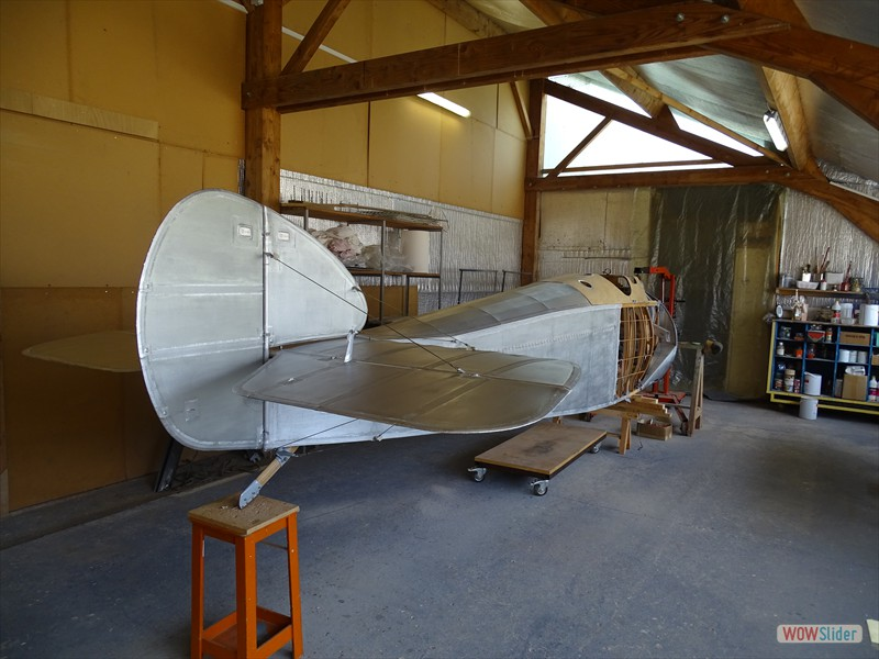 fuselage and empennage fitted and silvered, first coat