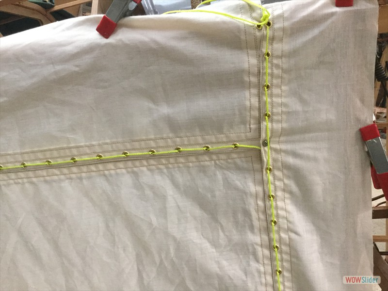 close-up of lacing area stitching (wrong cord)